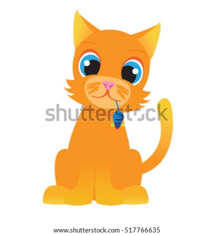 Cat holding a toy mouse vector