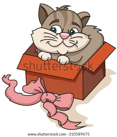 cat in a box and lying next to bow - stock vector