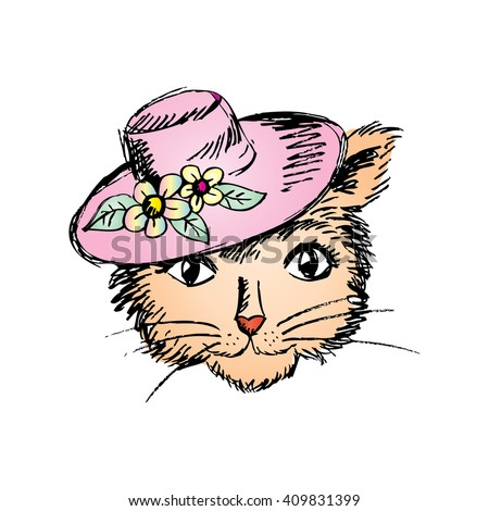 Cat in a ladies' hat. Doodle style