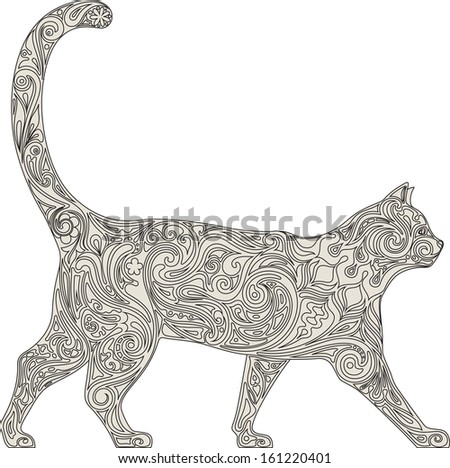 Cat in lace - stock vector