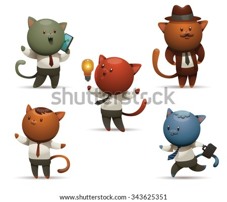 Cat in office in clothes of casual people doing typical office work, 5 persons with different emotions, vector - stock vector