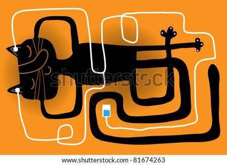cat in relax posture with a music player - stock vector