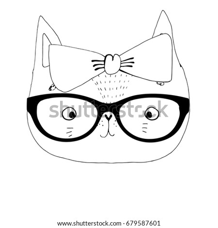 Vector Illustration Cat Glasses Cute Typography Stock
