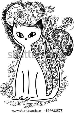 Cat in the moonlight sketchy doodles - stock vector