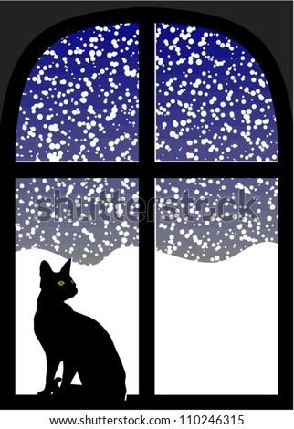 Cat in window at snowy night - stock vector