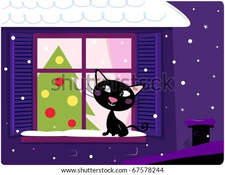 Cat looking through window, christmas tree and xmas snowy night - stock vector