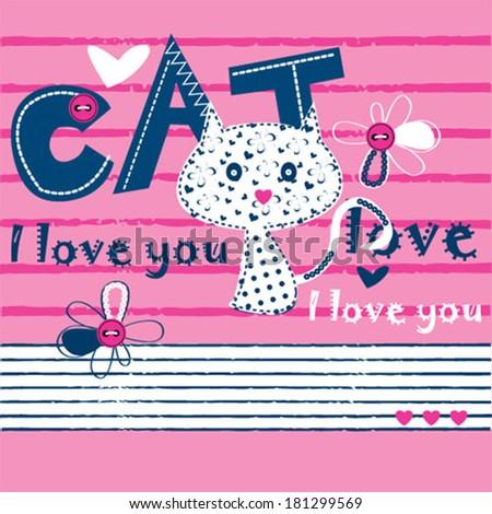 cat love card vector illustration - stock vector