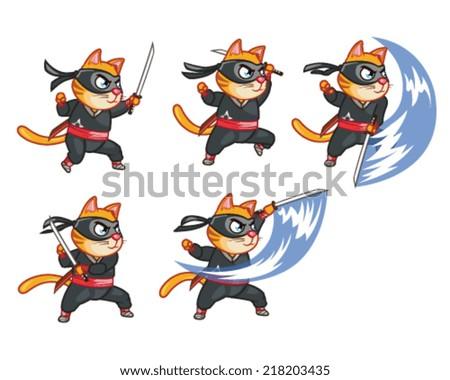 Cat Ninja Attacking Sprite - stock vector