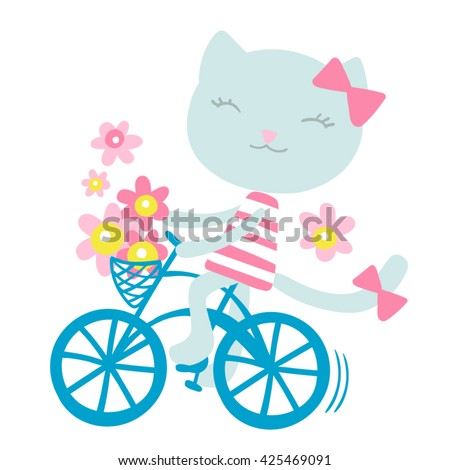 Cat on a Bicycle with Flowers Vector Illustration 7 colors - stock vector