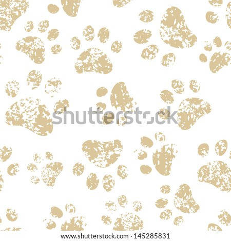 Cat or dog brown paw prints on white seamless pattern, vector - stock vector