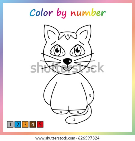 Cat Painting Page Color By Numbers Stock Photo Photo Vector