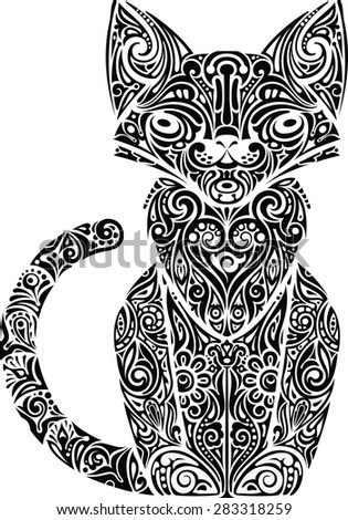 Cat patterned monochrome - stock vector
