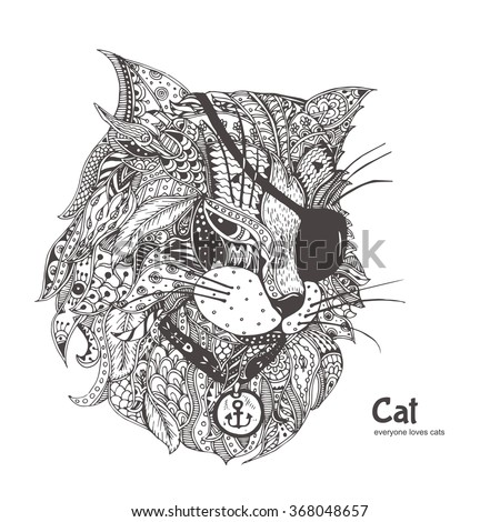 hard cat design coloring pages - photo#42
