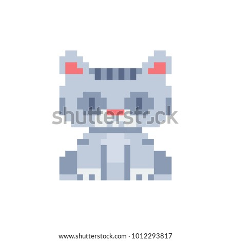Cat. Pixel Art Icon. Cute Pet. Stickers Design. Logo Design Template For