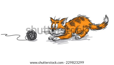 Cat playing with yarn - stock vector
