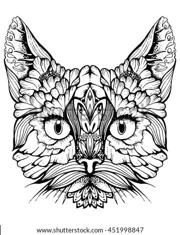 Cat Portrait Cat Cats Head Cute Stock Vector 451998847 ...