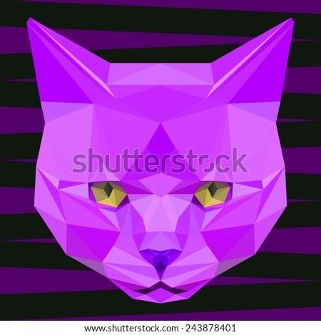 Cat. Purple cat. Abstract cat. Cat icon. Cat. Polygonal cat. Cat. Geometric cat. Cat portrait. Abstract cat. Cat. Graphic cat. Cat gaze. Cat icon. Isolated cat. Cat. Cat icon. Cat icon. Cat icon. Cat - stock vector