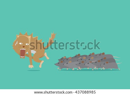 Cat run away from rat battalion. The key to win is the power of unity. Business concept about teamwork. - stock vector