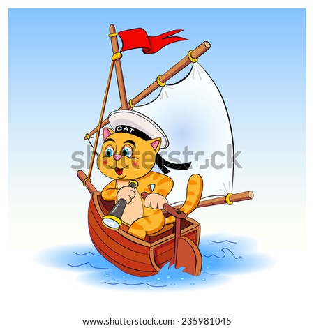 Cat - sailor sails on a sailboat into the distance. Cat holding a spyglass and manages a sailboat.