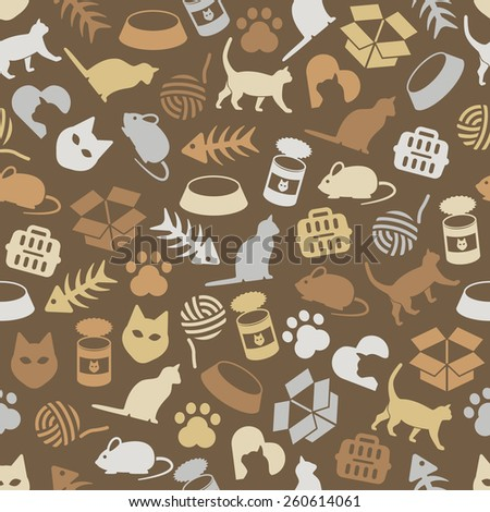 cat seamless pattern - stock vector