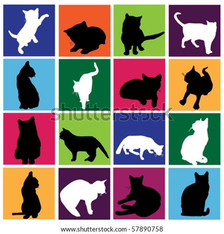 cat set - stock vector