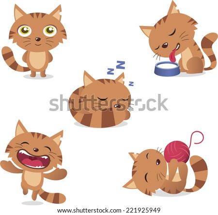 Cat Set, with five different cats in different situations like: standing, drinking milk, sleeping, laughing and playing with wool vector illustration set.  - stock vector
