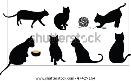 cat silhouette collection - stock vector