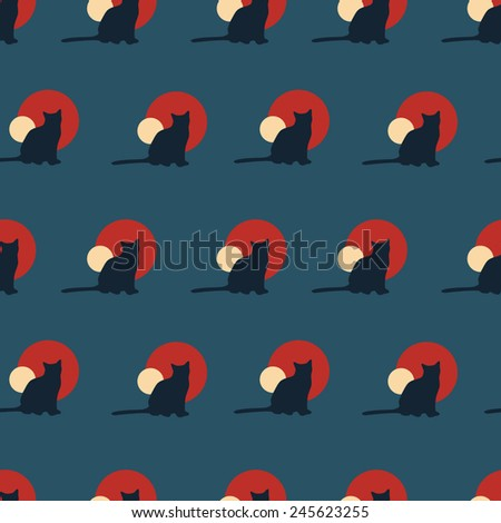 Cat silhouette seamless pattern
