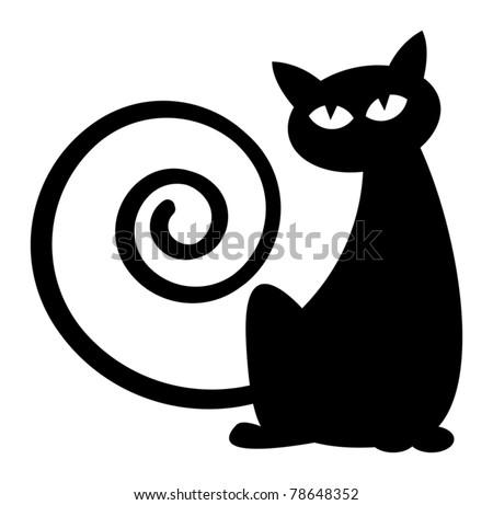 Cat silhouette, vector illustration - stock vector