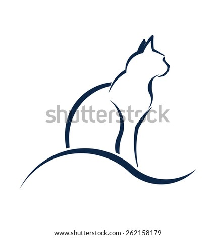 Cat silhouette with wave. Advertisement for Animal rescue, veterinary, shop  - stock vector