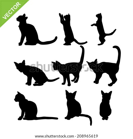 Cat silhouettes vector - stock vector
