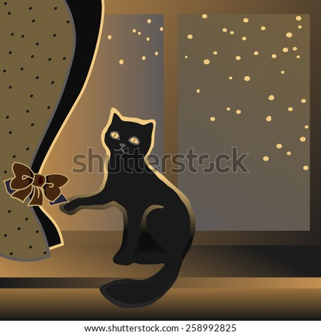 Cat sitting on a windowsill and plays a ton bow of curtains. - stock vector