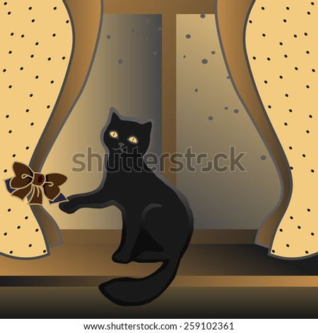 Cat sitting on a windowsill and plays a ton bow of curtains. Hand drawn seamless pattern. - stock vector