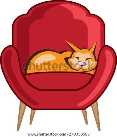 Cat sleeping in armchair - stock vector