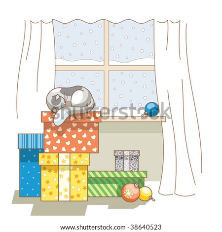 cat sleeping on hill of gifts on Christmas Eve - stock vector