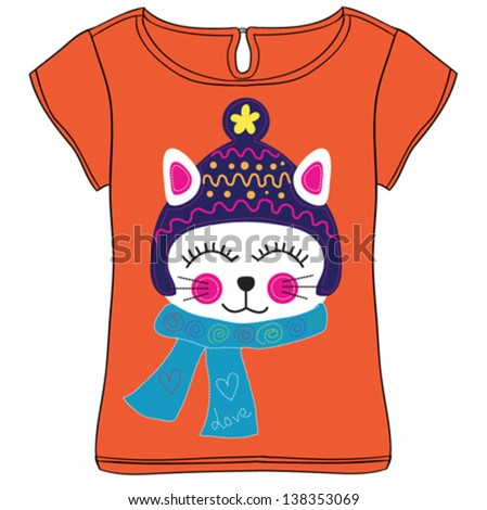cat / T-shirt graphics / cute cartoon characters / cute graphics for kids / Book illustrations / textile graphic - stock vector
