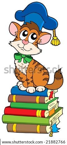 Cat teacher on pile of books - vector illustration. - stock vector
