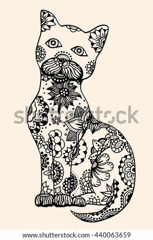 Cat with abstract pattern. Vector illustration. Hand drawn Doodle artwork. Summer concept for party card, ticket, branding, logo, label. Black, beige color
