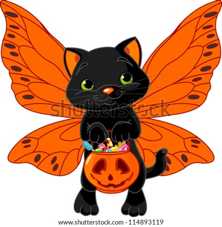 Cat with bag full of Halloween treats - stock vector