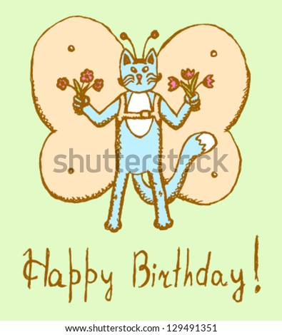Cat with butterfly wings, vector Birthday card - stock vector