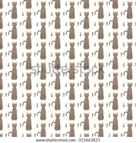 Cat with fishbone pattern vector background