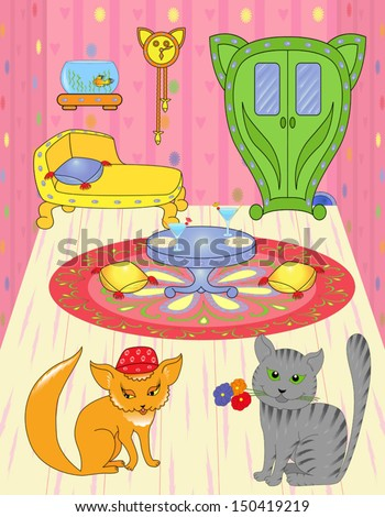 Cat with flowers came on a visit to pussy. Hand drawing cartoon vector illustration