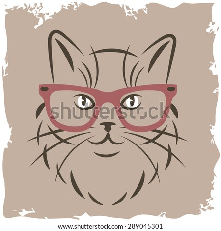 cat with red glasses - stock vector