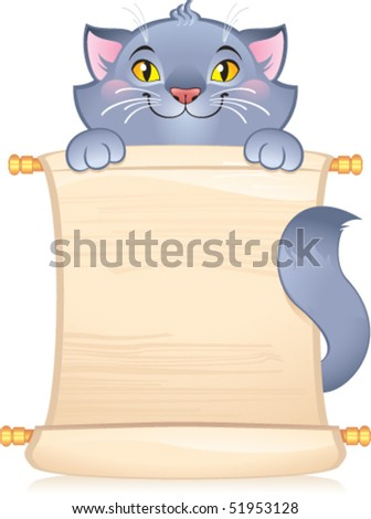 Cat with scroll - symbol of Chinese horoscope - stock vector