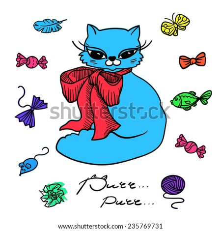 Cat with toys. Set of elements. Colorful collection. - stock vector