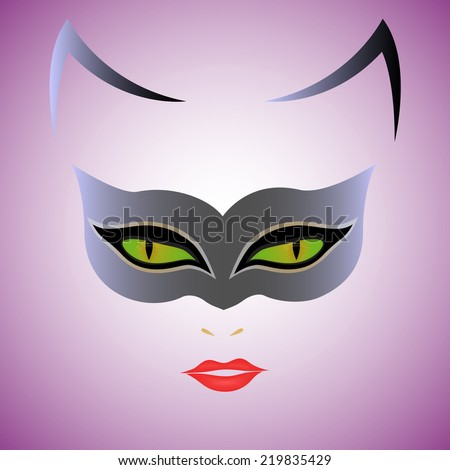 Cat Woman with green eyes in mask over violet background, hand drawing vector illustration - stock vector