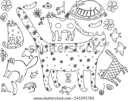 Cat world black and white. Hand drawn illustration. - stock vector