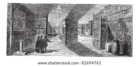 Catacombs or Ossuary or Sepulcher,Paris, France vintage engraving. Old engraved illustration of catacombs,1890s. Trousset encyclopedia (1886 - 1891).