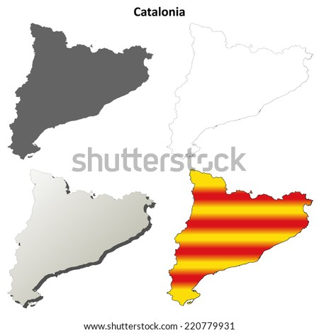 Catalonia blank detailed outline map set - Catalan version - stock vector