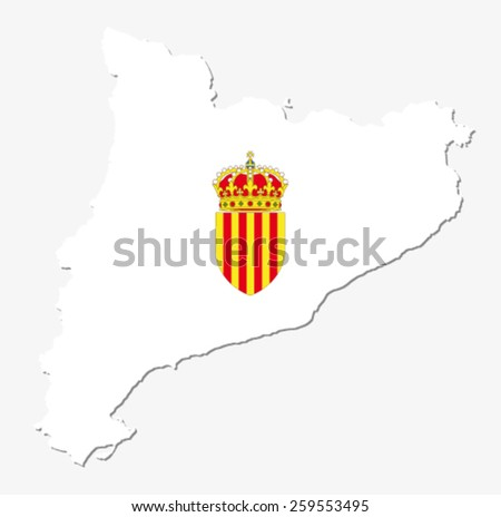 catalonia map with coat of arms - stock vector
